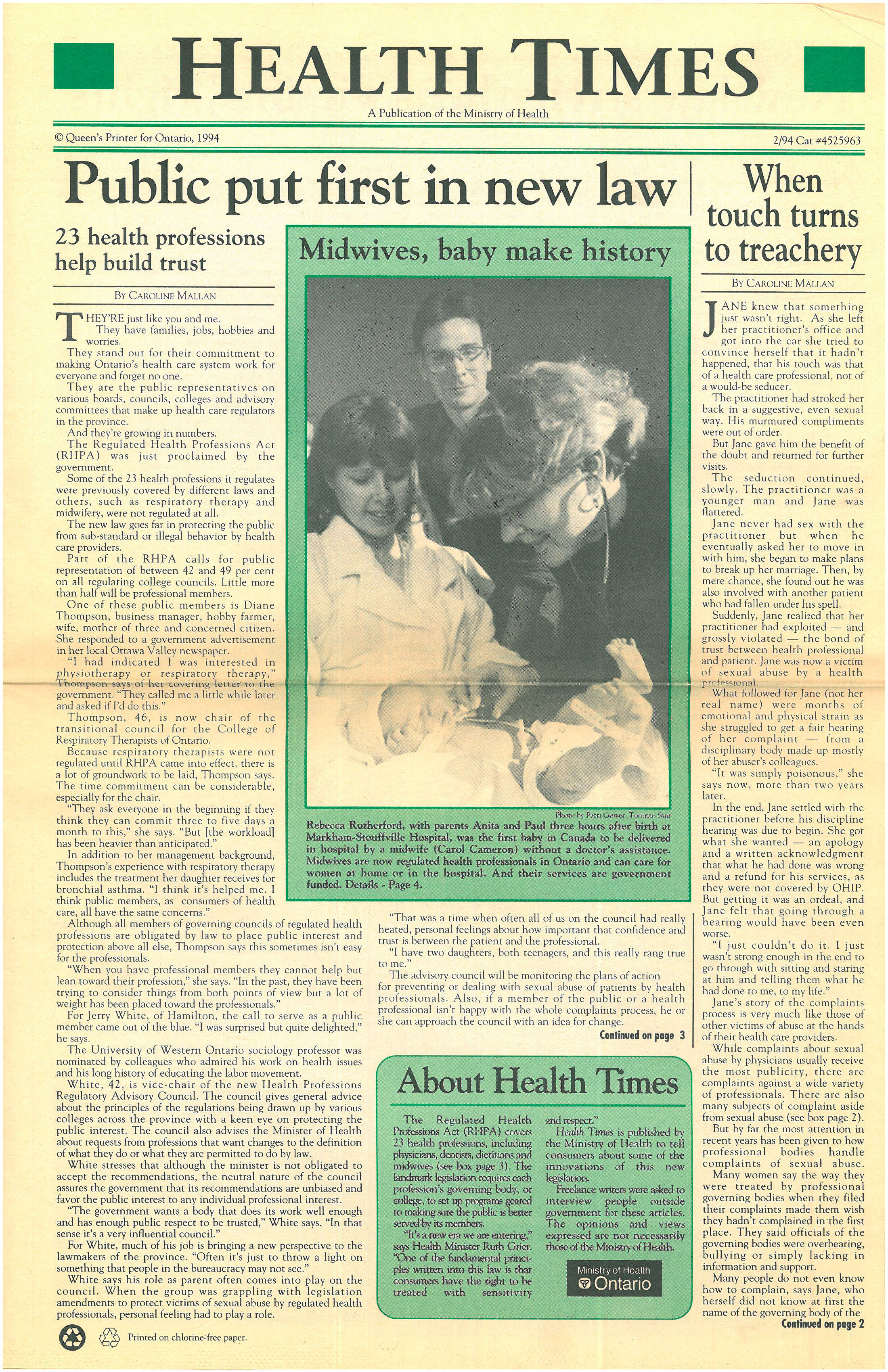 The image shows a copy of the Health Times, a publication of the Ministry of Health, with a photo of the first baby born to midwives in a hospital in Ontario.