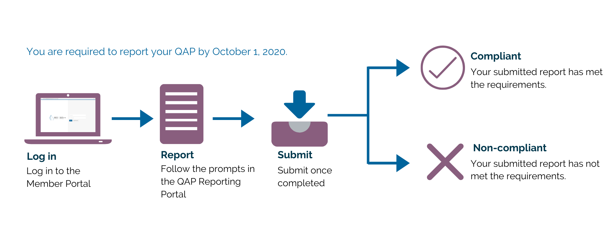 An image that outlines what you are required to report for your QAP by October 1, 2020.  Log In to the Member Portal Report and follow the prompts in the QAP reporting portal Submit once completed.  There are two outcomes, you are either Compliant and your submitted report has met the requirements, or you are non-compliant and your submitted report has not met the requirements.