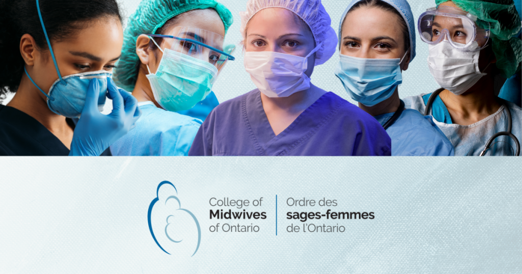 image of five midwives in PPE